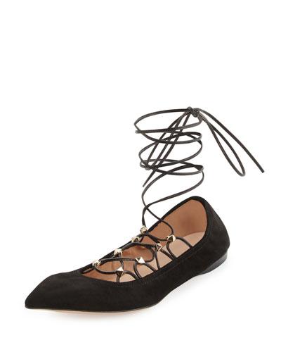 Rockstud Lace-Up Gladiator Ballerina Flat, Nero