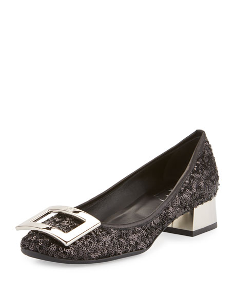 Roger Vivier Belle de Nuit Sequined Buckle Pump,