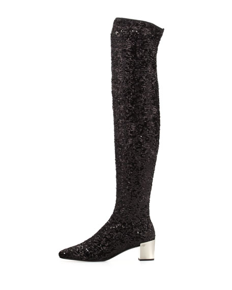 Polly Sequined Over-the-Knee Boot, Black