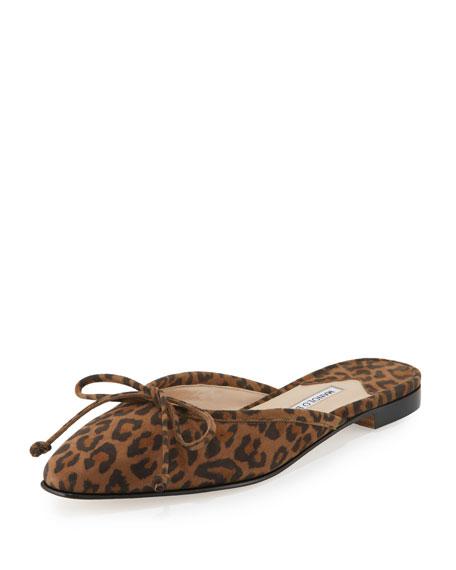 Manolo Blahnik Suede Bow Ballerina Mule Flat, Leopard