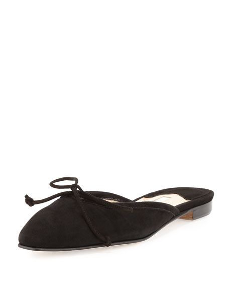 Suede Bow Ballerina Mule, Black