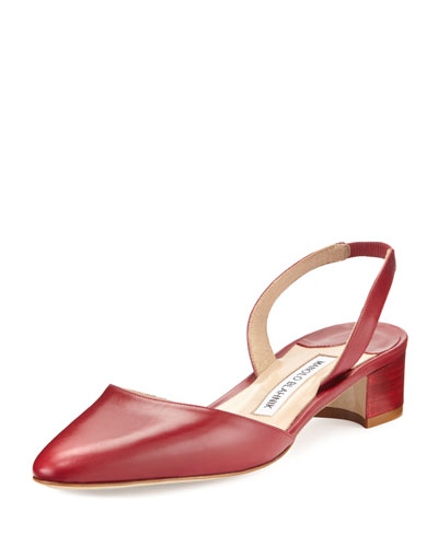 Aspro Sambra Leather Slingback Pump, Red