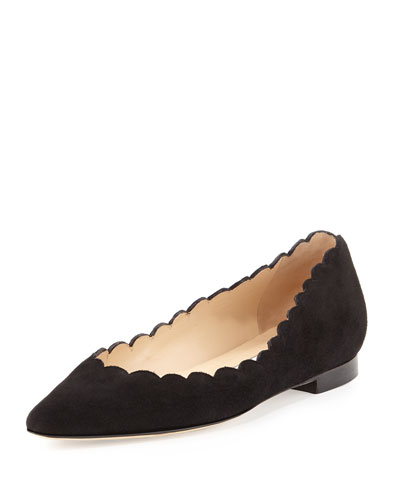 Srila Scalloped Pointed-Toe Flat, Black