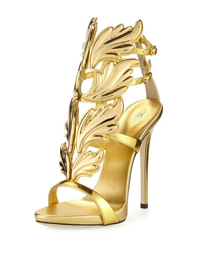 Coline Wings Leather High-Heel Sandal, Oro