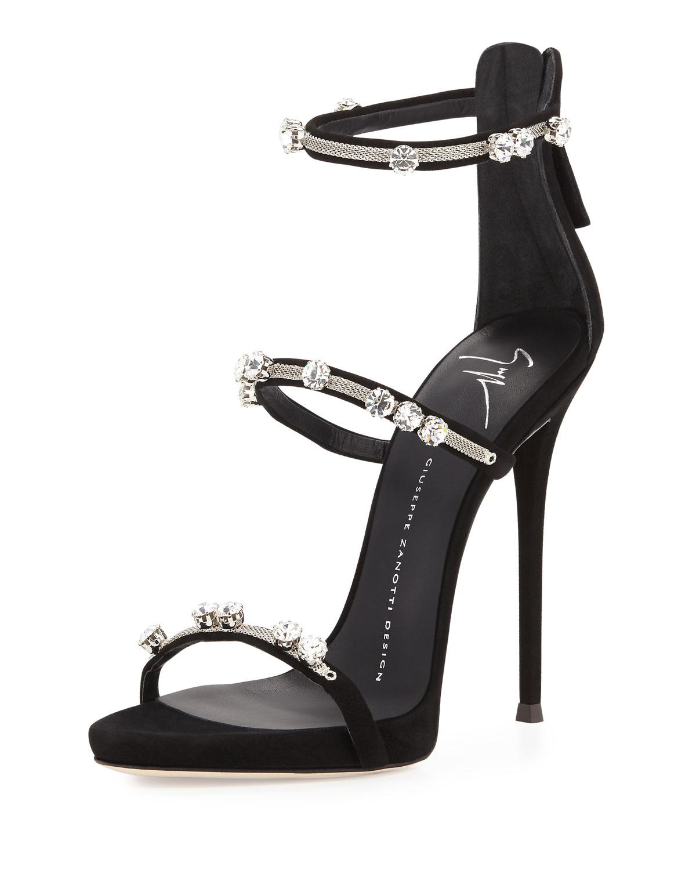 c32135a8e308b Giuseppe Zanotti Coline Crystal Triple-Strap 110mm Sandal, Black ...