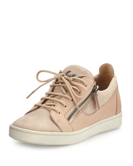 Giuseppe Zanotti Breck Suede Side-Zip Sneaker, Pallido
