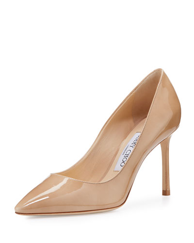 Romy Patent Pointed-Toe 85mm Pump, Nude