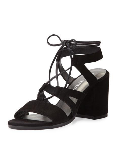 Stuart Weitzman Bigtiegirl Suede Lace-Up Sandal, Black
