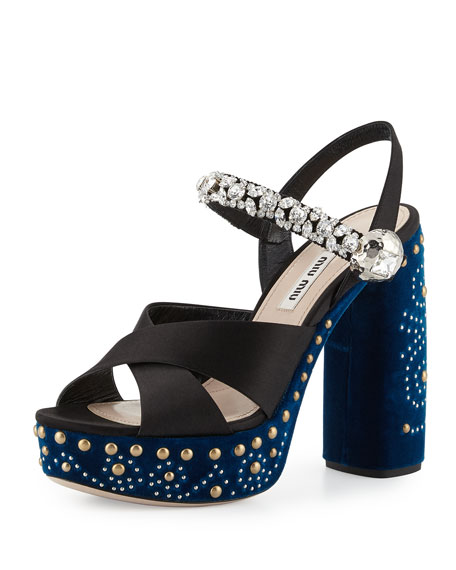 Velvet Jeweled-Strap Sandal, Nero/Cobalto