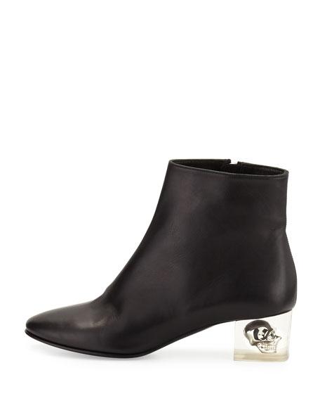 Leather Skull-Heel Ankle Boot, Black