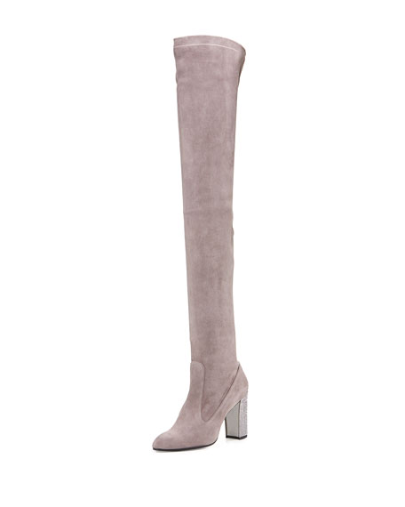 Suede 90mm Over-the-Knee Boot, Gray