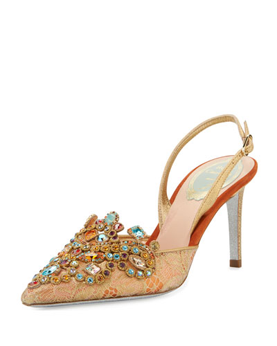 Crystal Lace Slingback Pump, Gold