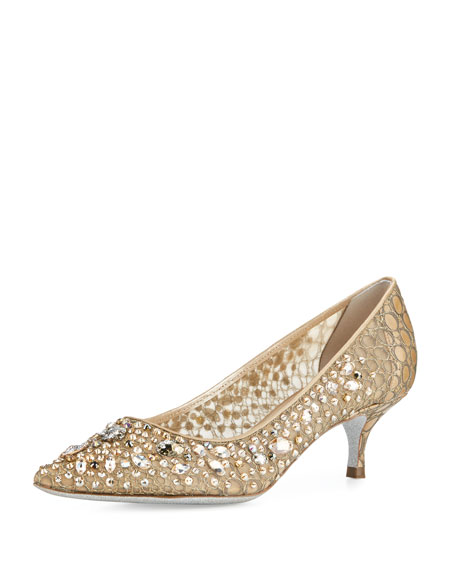 Decollete Crystal Lace 50mm Pump, Gold