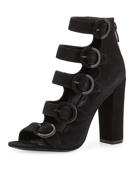 Evie Suede Multi-Buckle Sandal, Black