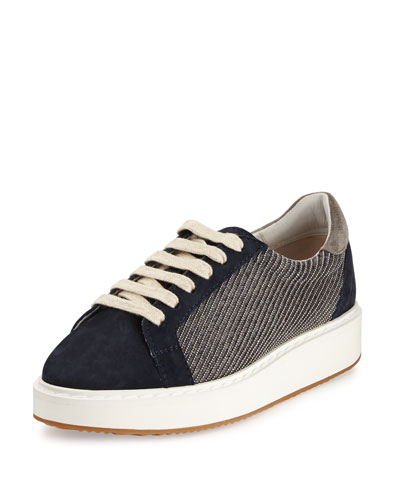 Monili Lace-Up Low-Top Sneaker, Navy