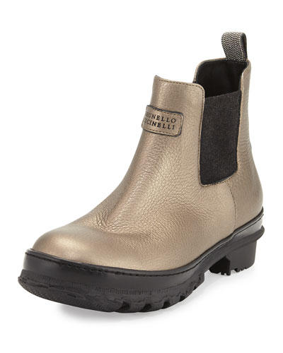 Metallic Leather Rain Boot, Bronze