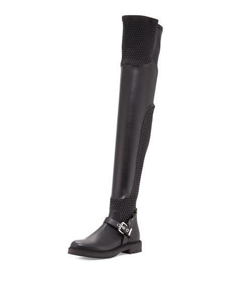 da454e633fd3 Fendi Smocked Leather Over-The-Knee Biker Boot