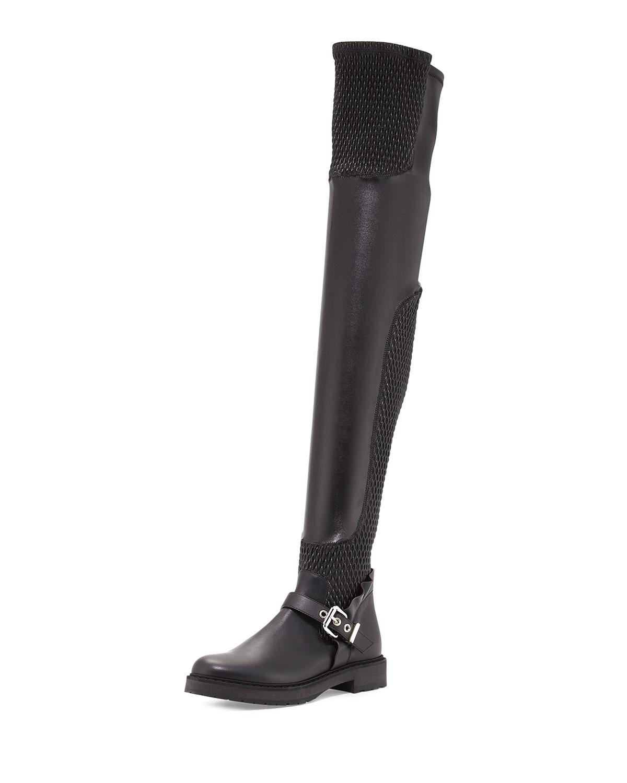 e331012c4cf Smocked Leather Over-The-Knee Biker Boot, Nero