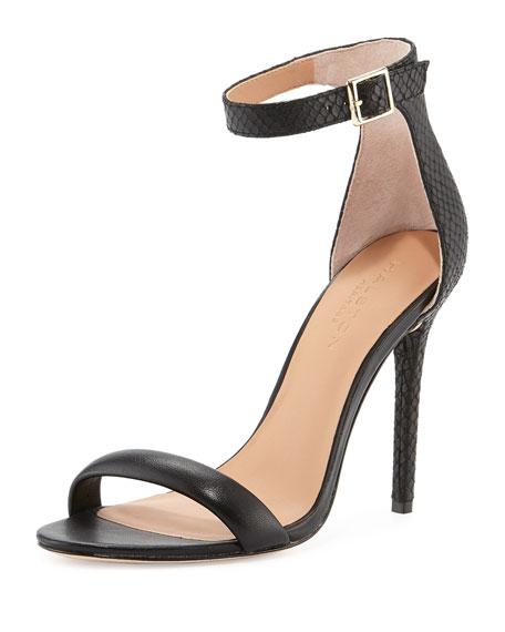 Ester Ankle-Strap Leather Sandal, Black