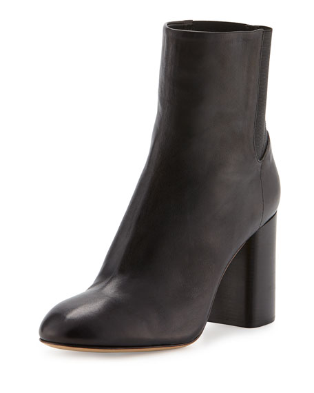 Agnes Leather Ankle Boot, Black
