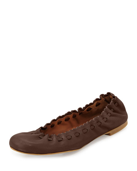 See by Chloe Jane Scalloped Ballerina Flat, Brown