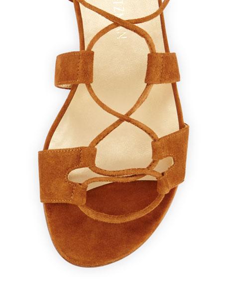 Romanflat Suede Flat Gladiator Sandal, Amaretto