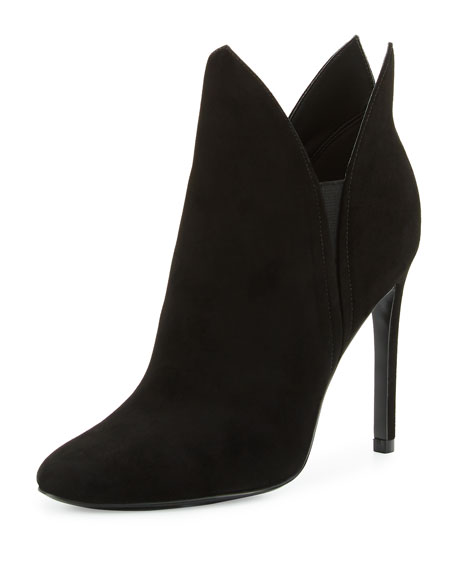 Madison Winged Suede Bootie, Black