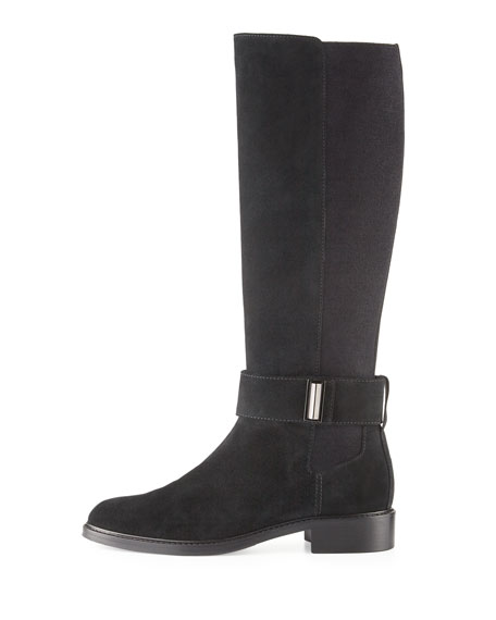 Giada Weatherproof Suede Knee Boot, Black