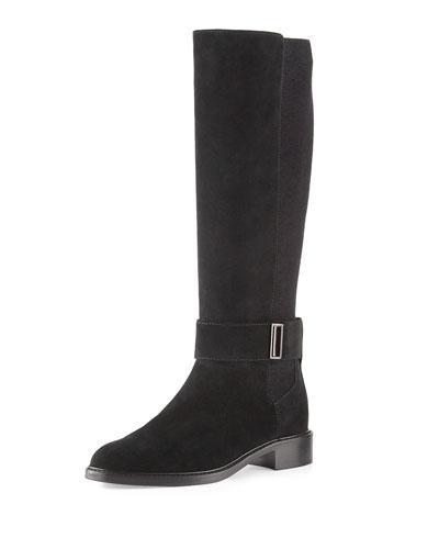 Giada Weatherproof Suede Knee Boot, Black