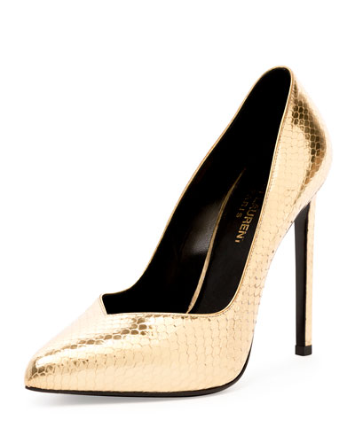 Paris Notched Python-Embossed Pump, Gold