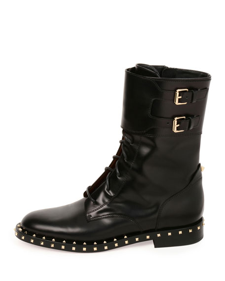 Soul Rockstud Leather Moto Boot, Nero/Platino