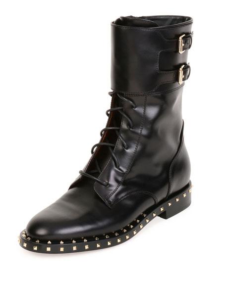 Valentino Garavani Soul Rockstud Leather Moto Boot, Nero/Platino