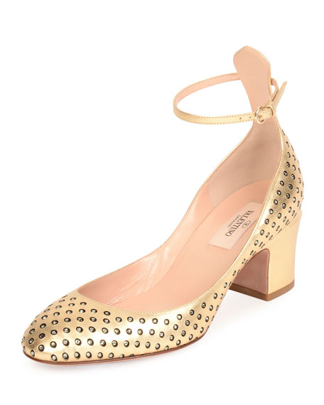 Valentino Tan-Go Strass Perforated Pump, Dark Gold/Black