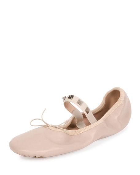 Valentino Rockstud Leather Ballerina Flat, Poudre