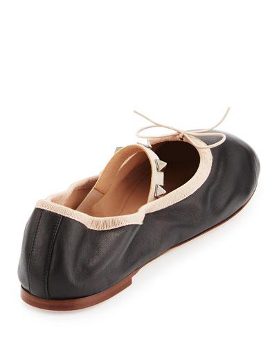 Rockstud Leather Ballerina Flat, Nero