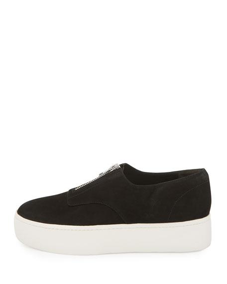 Warner Zip-Front Platform Sneaker, Black
