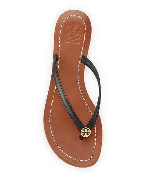 Terra Flat Logo Thong Sandal, Black