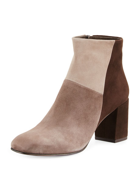 Leitzel Colorblock Suede Bootie, Gray/Multi