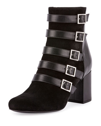 Suede/Leather Buckle 90mm Ankle Boot, Black