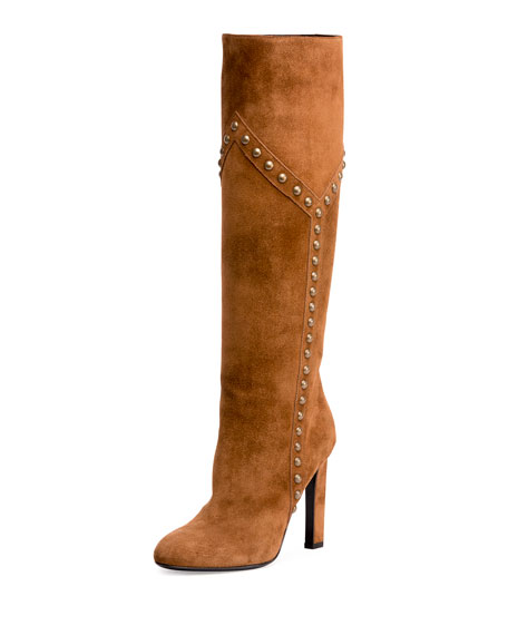 Studded Suede 105mm Knee Boot, Brown