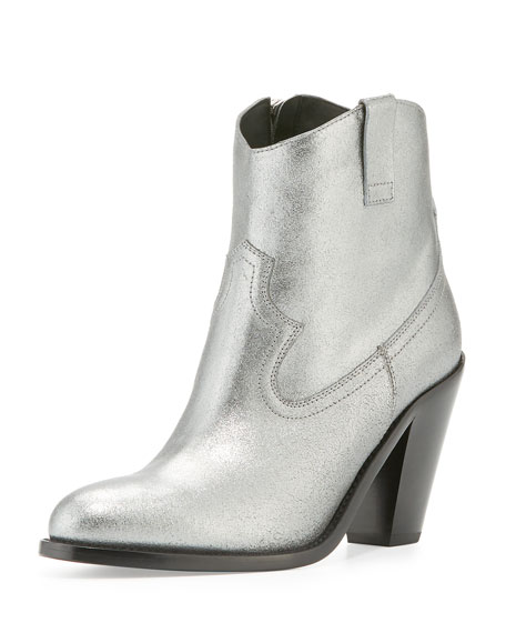 Saint LaurentCutris 80mm Western Ankle Boot, Silver
