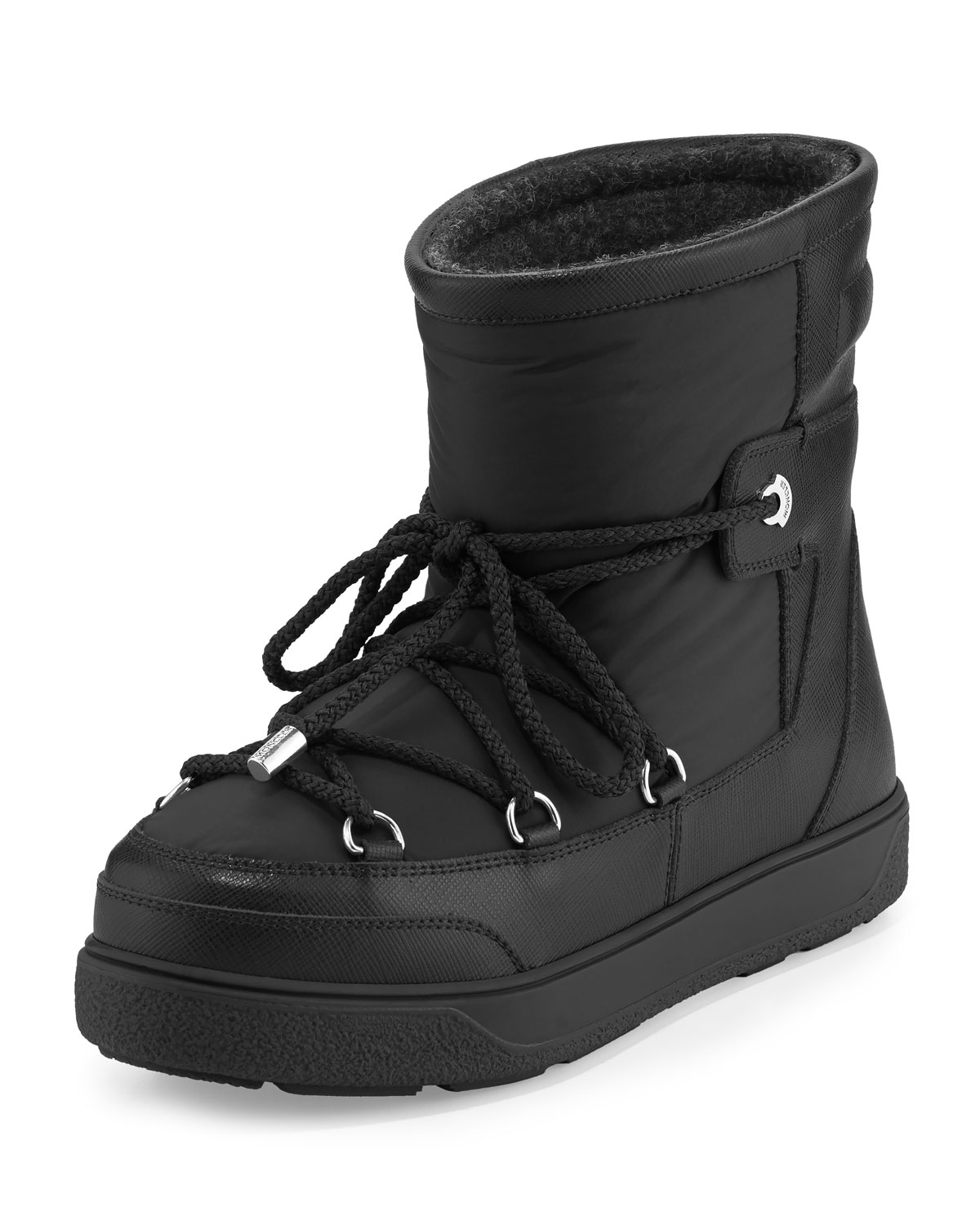 Leather Ankle Black Lace Moncler Up Marcus Neiman Boot Fanny wqIRnxvgt