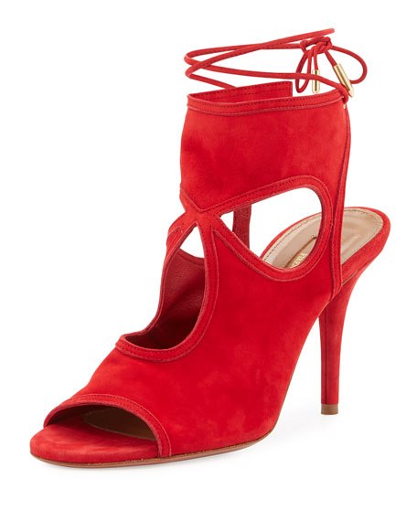 Aquazzura Sexy Thing Suede 85mm Sandal, Lipsitck