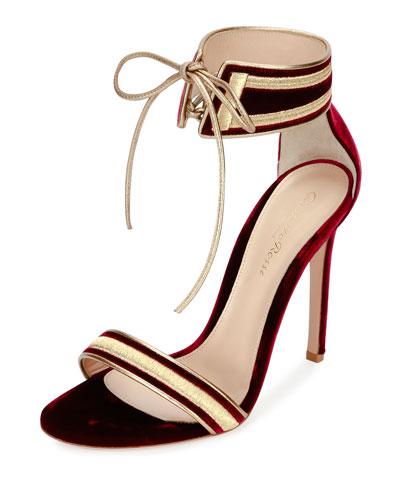 Velvet Metallic-Trim Ankle-Wrap Sandal, Granato/Glam