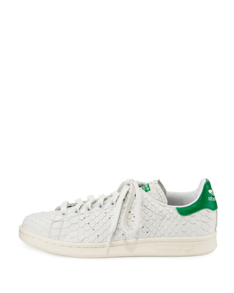 Stan Smith Snake-Cut Leather Sneaker, Crystal White/Green