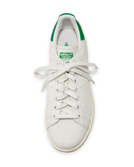 Adidas Stan Smith Snake-Cut Leather Sneaker, Crystal White/Green