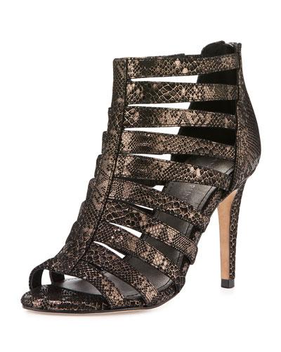 Adelia Metallic Snake-Embossed Sandal, Pewter