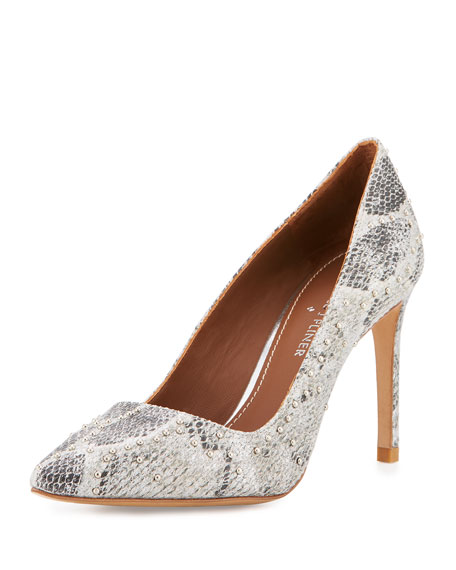Donald J Pliner Phillo Embellished Snake-Print Leather Pump, Pewter