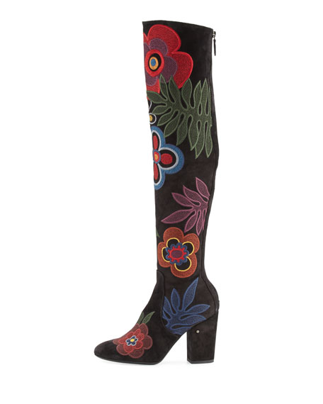 Embroidered Suede Over-The-Knee Boot, Black/Multicolor