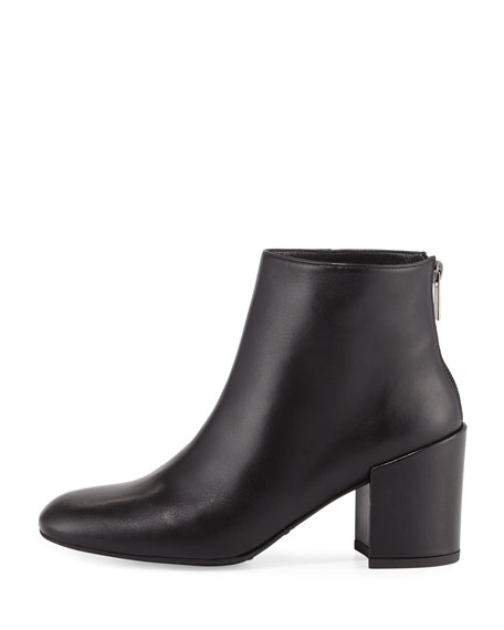 Bacari Leather Chunky-Heel Bootie, Black
